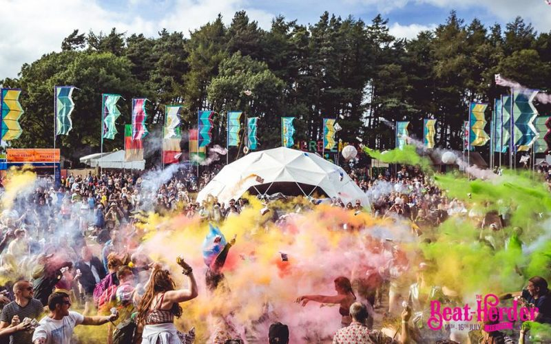 powdered paint thrown in the air at beatherder