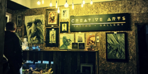 Creative arts room with artwork on the walls