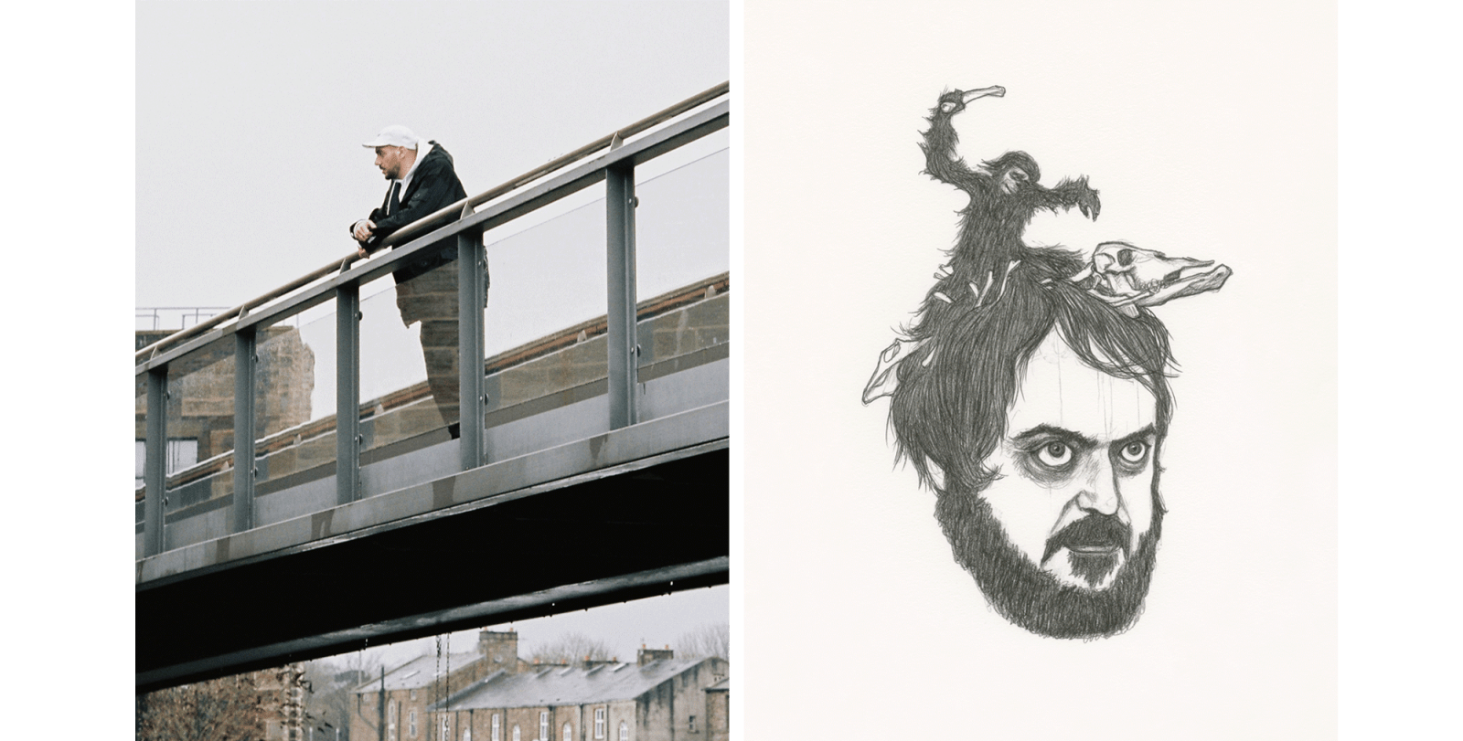 Aitor Throup on a bridge and a piece of his artwork