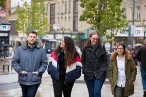 Four students in Burnley town centre