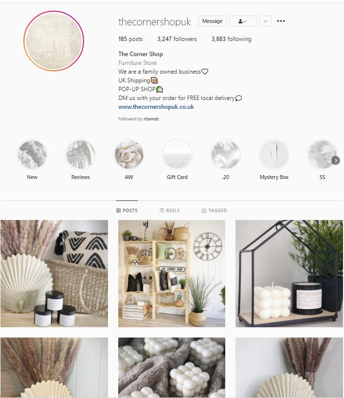 The Corner Shop UK Instagram